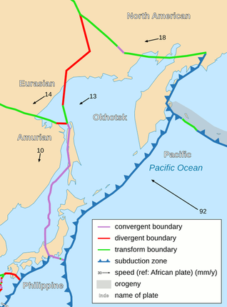 Boundary Map Of Asia.The Okhotsk Plate It S Pretty Ok Tectonics Of Asia